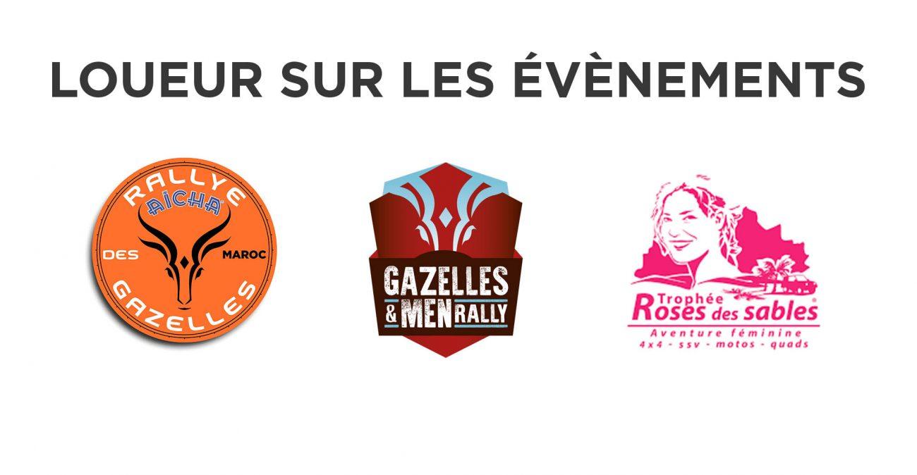 JUGAND Location, loueur pour de nombreux rallyes : Aïcha des Gazelles, Gazelles and men rally, Trophée Roses des Sables